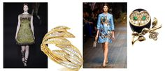 Alberta Ferretti Fall 2014 feathered dress; Verdura Tiara Feather Diamond Bracelet in Yellow Gold; Dolce & Gabbana Dress with Sweet Owls from the Fall 2014 Collection; Van Cleef and Arpels Diamond, Emerald, Enamel and Gold Owl Brooch (=)