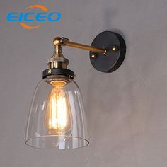 (EICEO) Personality Retro American Country Antique Glass Wall Lamp Style Creative Personality Copper Funnel Wall Light AC220V #Affiliate