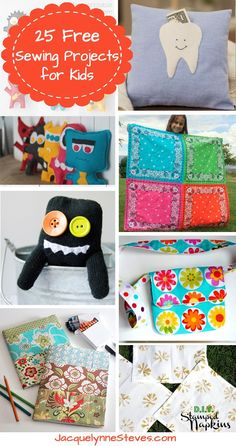 25 Free Sewing Projects for Kids - Jacquelynne Steves # easy kids sewing projects 25 Free Sewing Projects for Kids - Jacquelynne Steves Sewing Hacks, Sewing Tutorials, Sewing Crafts, Sewing Tips, Sewing Ideas, Dress Tutorials, Sewing Lessons, Sewing Basics, Love Sewing