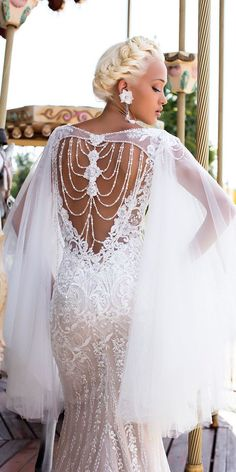 Pollardi Fashion Group: Daria Karlozi 2018 Wedding Dresses daria karlozi 2018 wedding dresses a line lace backless low back with capes wedding dresses naive lavender See more: www. Best Wedding Dresses, Boho Wedding Dress, Designer Wedding Dresses, Bridal Dresses, Wedding Styles, Wedding Gowns, Wedding Bride, Black Bride, Bridal Fashion Week