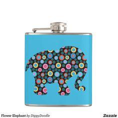 Flower Elephant Hip Flask