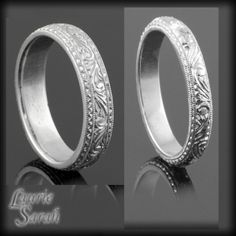 14kt White Gold His and Hers Intricately Engraved Wedding Bands - He would not like this...but I do!