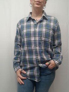 0b6ec8cc99a Vtg 80s 90s Plaid Flannel Shirt Blue Green White 100% Cotton Mens M L