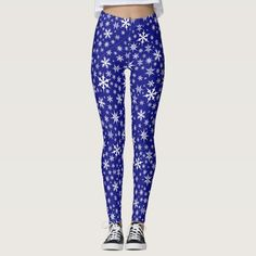 Shop Blue Snowflakes All-Over Print Leggings created by SjasisDesignSpace. Christmas Tights, Christmas Leggings, Winter Leggings, Christmas Holidays, Snowflake Leggings, Popular Christmas Gifts, Christmas Shopping, Leggings Fashion, Winter Fashion