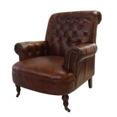 Brown Buttoned Library Chair - Bold Living - Temple & Webster presents French Country Collections, Library Chair, Velvet Couch, Leather Conditioner, Leather Furniture, Occasional Chairs, Home Textile, Brown Leather, Armchair