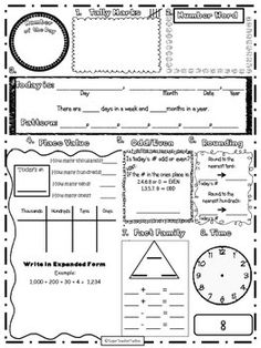 math worksheet : free 1 week sample of spiral daily math review for 4th grade  : 3rd Grade Math Review Worksheets