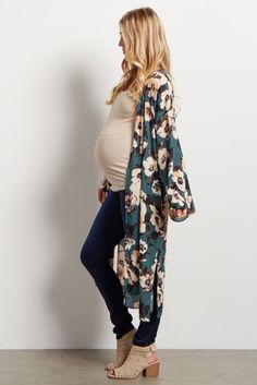 Green Floral Print Chiffon Long Kimono - I see no reason why this can only be a maternity kimono. :)