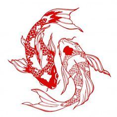 Illustration koi carp coloring page yin stock vector (royalty free) 35717 . - Illustration koi carp coloring page yin stock vector (royalty free) 357172847 – glass garden – - Koi Fish Drawing, Koi Fish Tattoo, Fish Drawings, Carp Tattoo, Red Ink Tattoos, Body Art Tattoos, Sleeve Tattoos, Tatoos, Tattoo Sketches
