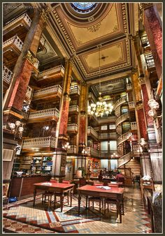 The Iowa State Capitol's law library is home to spiral staircases, mosaic tiles, rich woods and dazzling light fixtures. A true gem located in Des Moines, Iowa. (Photo by W4nd3rl0st, shared with permission)