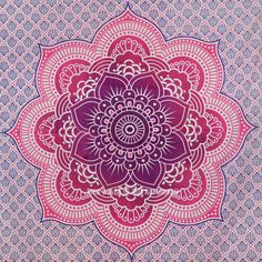 Pink Flower of Life Geometric Ombre Mandala Wall Tapestry on RoyalFurnish.com, $21.50