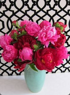Brilliant hot pink flower arrangement -  denise fasanello #peony #flowers #aqua