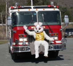 Easter Bunny on Fire Truck