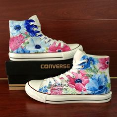 Womens Converse Gifts Watercolor Floral Hand Painted Canvas Sneakers