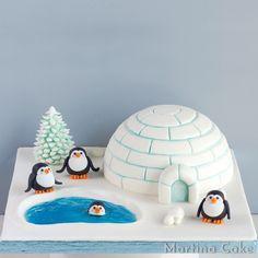 Tarta iglú con pingüinos • Martina Cake