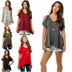 Fashion Women Summer Loose Top Short Sleeve Blouse Ladies Casual Tops T-Shirt #Unbranded #Tops #Casual