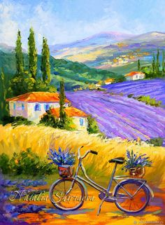 """Painting Provence """"Bicycle on lavender fields"""" oil on canvas - buy or order in an online shop on Livemaster Watercolor Landscape, Landscape Art, Landscape Paintings, Watercolor Art, Oil Painting App, Lilac Painting, Small Canvas Art, Diy Canvas Art, Oil On Canvas"""