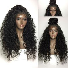 Pre-plucked Brazilian virgin Curly Wave 360 frontal lace full wig-[HY666] - Bea Hairs