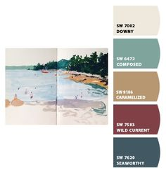 Paint colors from ColorSnap by Sherwin-Williams Coastal Color Palettes, Coastal Colors, Wall Colors, Paint Colors, Red Colour Palette, Brown Cabinets, Sherwin William Paint, Trim Work, Downy