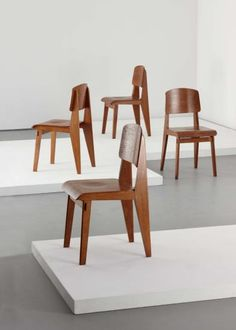 """View Set of four """"Tout Bois"""" chairs by Jean Prouvé sold at Design on 9 June 2010 New York. Vintage Furniture, Home Furniture, Furniture Design, Muebles Art Deco, Jean Prouve, Chaise Chair, Art Nouveau, Store Interiors, Living Room Seating"""