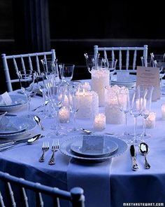 use all white dishes, flowers and candles