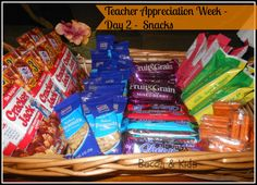 teacher appreciation week ideas -a basket full of wrapped snacks. Granola Bars, Peanuts, Cereal Bars, Fruit Ropes, Crackers, etc.