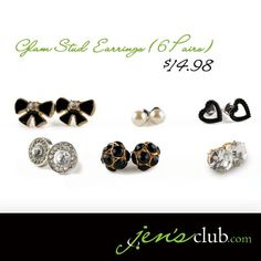 "Glam Stud Earrings (6 Pairs) From Regal.  No matter what the occasion, you'll have a chic pair of earrings with this glamourous set. Featuring enameled bows, faux diamonds and pearls, faceted bead fireballs, textured hearts and faux-rhinestone shields. (Post-style stud earrings vary in size from 3/8"" to 1/2""Diam.) Product Number - JC1035"