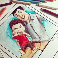 Caleb and his dad drawn by @winstonmarcoswm