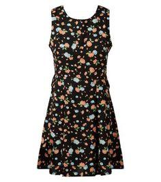 Cutie Black Floral Print Skater Dress