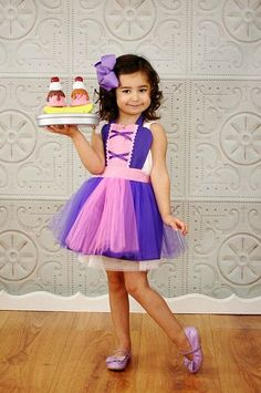 kids apron RAPUNZEL dress up  TUTU kids apron for girls fun for special occasion or birthday party dress up costume on Etsy, $28.00