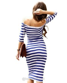 Off The Shoulder Knee Length Strapless Stripe Dress -  - Casual Dresses, Look Love Lust