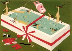 Santa and his reindeer post Christmas Eve swimming pool party - vintage mid-century modern Christmas card by T. Hee.