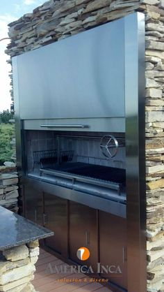 #outdoor #Casasdecampo #Parrillas Backyard Kitchen, Outdoor Kitchen Design, Parrilla Interior, Homemade Smoker, Four A Pizza, House Yard, Wood Fired Oven, Bbq Grill, Yard Landscaping