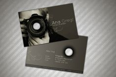 Creative dark photography business cards sample, designed for professional photographer Ana Gregl.