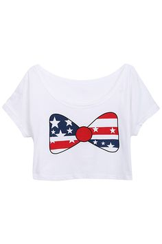 ROMWE | Flag Bow White Midriff T-shirt, The Latest Street Fashion #ROMWE