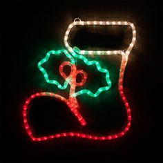 "18"" LED Christmas Stocking with Holly"