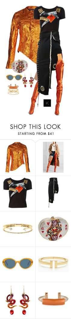 """""""Untitled #4224"""" by kimberlythestylist ❤ liked on Polyvore featuring Marques'Almeida, Vetements, Kokon To Zai, Delfina Delettrez, Judith Leiber, Oliver Peoples, Tiffany & Co. and Pluma"""