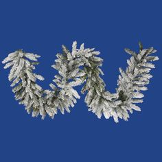 1.3' Vickerman A100416 Flocked Sugar Pine - Flocked White on Green