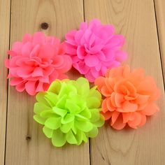 120pcs/lot 2.75In girls Chiffon Hair Flowers 30 Colors Neon Artificial Floral Flat Back DIY Kids Headwear Accessories MH70
