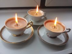 A Spoonful of Crafts: Stearinlys i gamle kopper / Candles in Old Cups Diy And Crafts, Ornament, Candles, Christmas, Post, Advent, Decor, Stone, Craft Items