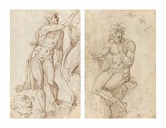Battista Franco (Venice circa 1510-1561), Two male nudes seen from the front and side, with a subsidiary study of the head of the complete figure (recto); A seated male nude leaning on a table (verso), black and red chalk, pen and brown ink, the upper left, upper and lower right corners clipped and made up, 17¼ x 11¼ in. (43.7 x 28.7 cm.)