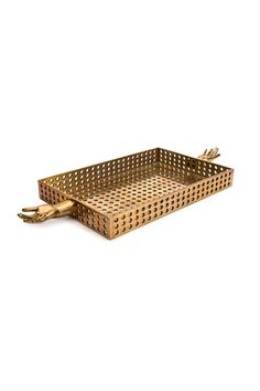 """SALONE TRAY IN PERFORATED BRONZE - Kelly Wearstler ($2,275.00)  Total Length: 27"""" Tray Length: 17"""" Width: 11"""" Height: 2""""  COLOR: Bronze"""