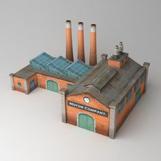Lowpoly factory Model available on Turbo Squid, the world's leading provider of digital models for visualization, films, television, and games. Minecraft Creations, Minecraft Projects, Minecraft Designs, Minecraft Ideas, Minecraft Brick, Cityscape Drawing, Factory Architecture, Lego Trains, Minecraft Blueprints