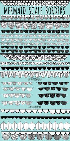 Mandala Art Lesson, Mandala Drawing, Doodle Patterns, Zentangle Patterns, Zentangles, Zen Doodle, Doodle Art, Mermaid Clipart, Scale Tattoo