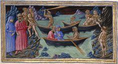 Meeting with Charon by Priamo della Quercia (manuscript illumination, Illustration of Dante's Divine Comedy )
