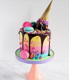 - Hits for kids - Lustige Rezepte für Kinder - Cake Cute Cakes, Pretty Cakes, Yummy Cakes, Candy Cakes, Cupcake Cakes, Bolo Tumblr, Cute Desserts, Baking Desserts, Ice Cream Party