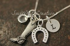 Sterling Silver Equestrian Necklace with by SayWhatCreations, $44.00