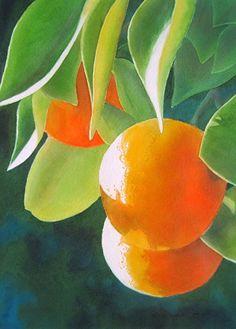 "Orange Crop by Dee Tunseth Watercolor ~ 14"" x 12"""
