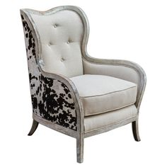 yeehaw  cow hide & linen tufted chair. Found it at Wayfair - Chalina High Back Arm Chair http://www.wayfair.com/daily-sales/p/Brother-Vs-Brother%3A-The-Bedroom-Chalina-High-Back-Arm-Chair~UM12605~E21051.html?refid=SBP