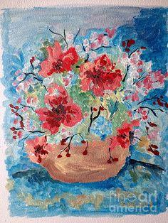 Flowers by Farfallina Art -Gabriela Dinca- Flower Art, Oil On Canvas, Original Artwork, Greeting Cards, Wall Art, Creative, Nature, Flowers, Pots