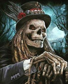 He waits at night, Baron Samedi Arte Horror, Horror Art, Skull Tattoos, Body Art Tattoos, Tattoo Cat, Grim Reaper Art, Totenkopf Tattoos, Reaper Tattoo, Skull Pictures